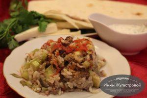 Мусахас рисом и кабачком в СВЧ