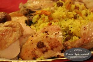 Фаршированная рисом курица в духовке