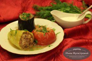 Ассорти фаршированных мясом овощей