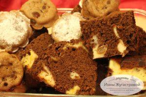 Шоколадно-творожный кексы