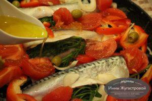 Скумбрия с овощами по-средиземноморски