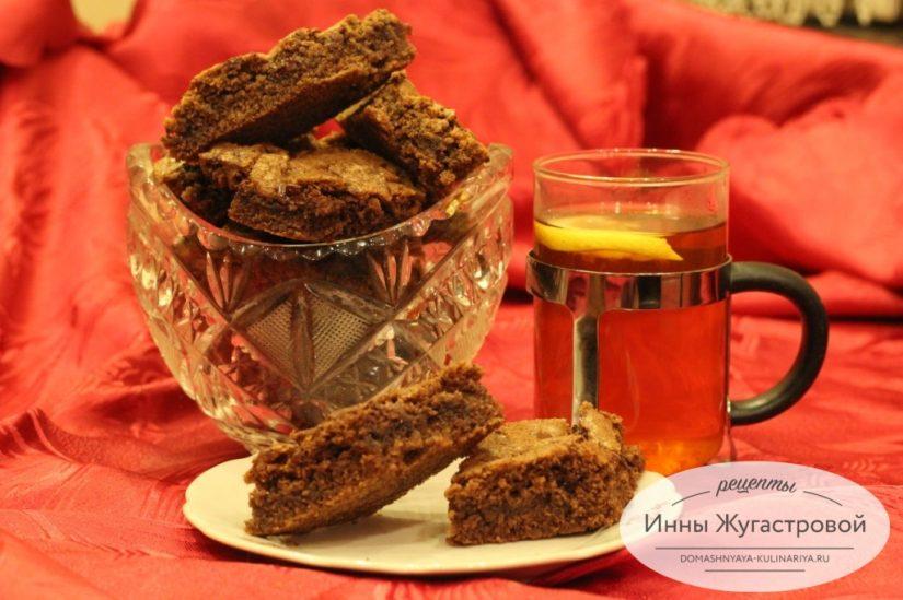Быстрое шоколадное печенье на какао с шоколадной крошкой