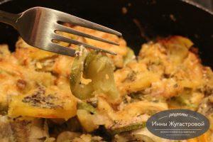 Минтай с кабачком и картофелем в духовке