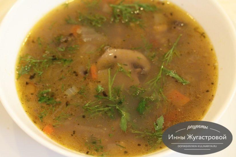 Веганский фасолевый суп с грибами и рисом