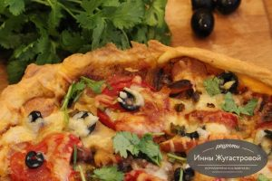 Пицца на тонком пивном тесте с мясной нарезкой