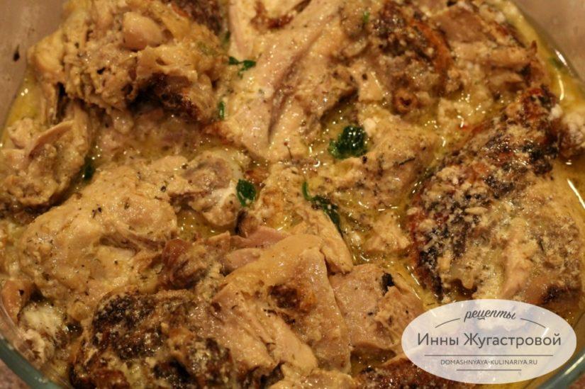 Цыпленок чкмерули (шкмерули) в чесночно-сливочном соусе