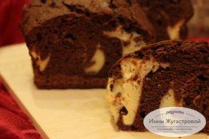 Шоколадный кекс с творожной прослойкой