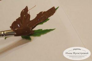 Шоколадные листики для украшения