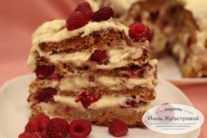 Торт Медовик со свежей малиной