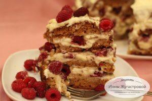 Медовый торт со свежей малиной