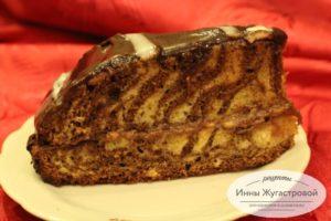 Пирог Зебра с банановым кремом