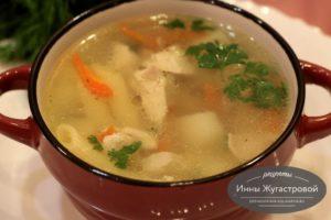 Суп на курином бульоне с макаронами