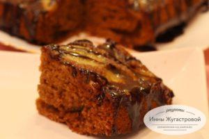 Банановый шоколадный пирог перевертыш с карамелью