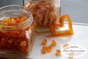 Ароматные янтарные апельсиновые цукаты