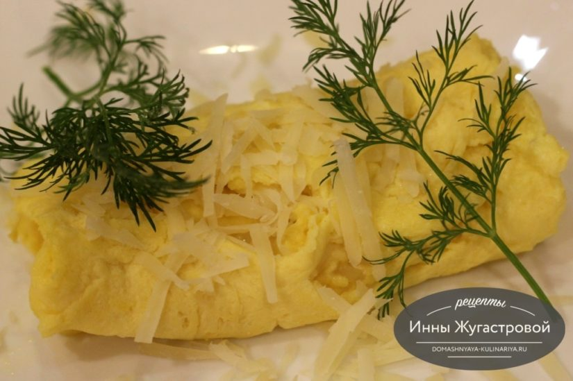 Омлет сырный на сковороде без молока