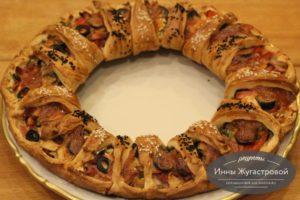 Пирог Кольцо с мясной нарезкой