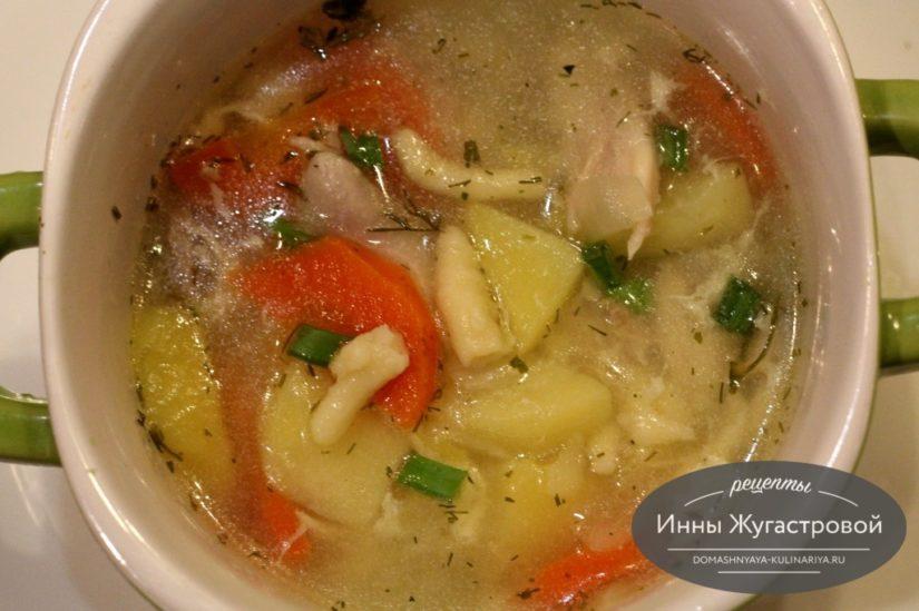 Татарский суп умач аши с курицей и затирной лапшой