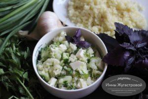 Салат с добавлением риса из цветной капусты