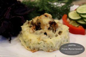 Запеченные в духовке под сыром гнезда из риса с начинкой