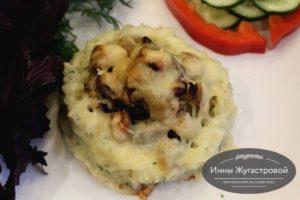 Гнезда из риса с начинкой из курицы, грибов и фасоли в духовке под сыром