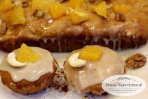Апельсиновые кексы с орехами и апельсиновой глазурью