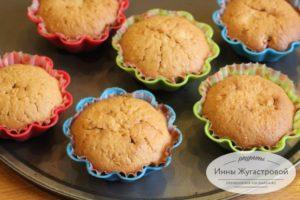 Апельсиновые кексы с геркулесом, орехами яблоком
