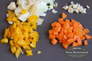 Нарезать свежие овощи