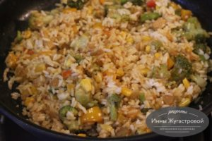 Добавить вареный рис