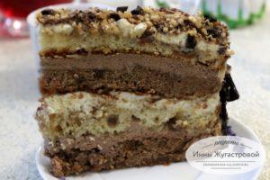 Торт Жозефина с изюмом, какао, орехами и шоколадной стружкой