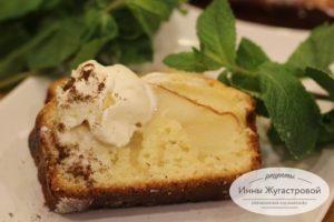 Теплый творожный десерт с грушей