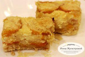 Насыпной творожный пирог с абрикосами