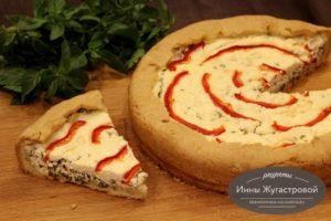 Песочный пирог с творогом, зеленью и болгарским перцем