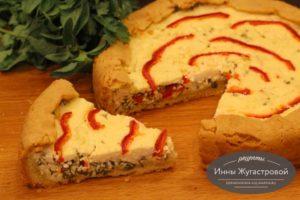 Открытый творожный пирог с болгарским перцем