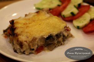 Ленивая лазанья из макарон с соусом бешамель
