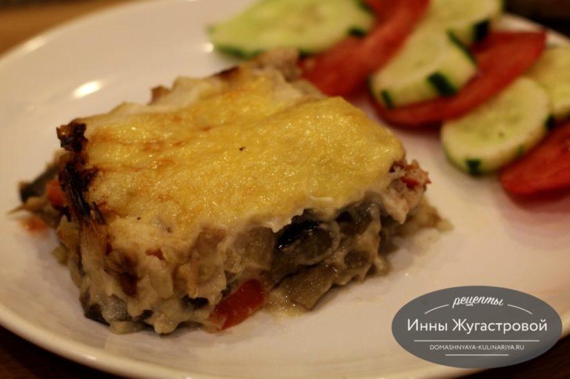 Ленивая лазанья из вареных макарон с любой начинкой под соусом бешамель