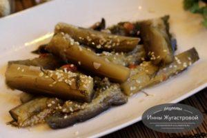 Маринованные баклажаны с кунжутом и кунжутным маслом