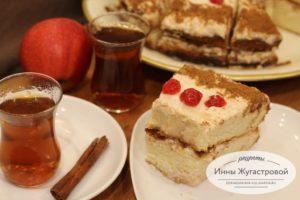 Торт на бисквитных коржых с яблочным сметанным кремом