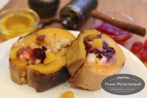 Веганская фаршированная рисом и фруктами тыква