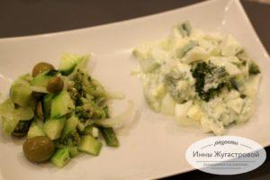 Два салата из брокколи и свежих огурцов