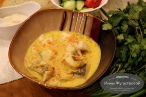 Филе судака в белом сметанном соусе