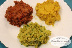 Веганская закуска Светофор из красной и белой фасоли и зеленого горошка
