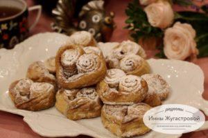 Красивое творожное печенье Сердечки