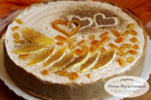 Апельсиновый чизкейк из печенья и сыра маскарпоне