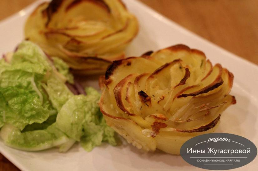 Картофельные розы, запеченные в духовке под сливочным соусом