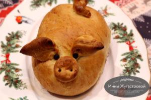 Пирог с квашеной капустой и грибами Свинки