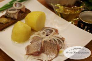 Селедка с картошкой и горчичным соусом