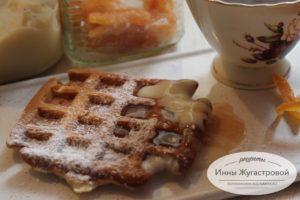 Бельгийские вафли на кефире к чаю на завтрак