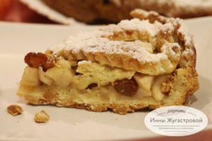 Яблочный открытый песочный пирог