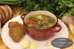 Суп на индюшином бульоне с гречкой, овощами, щавелем и шпинатом