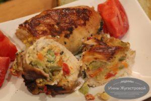 Куриное филе, фаршированное замороженными овощами и сыром